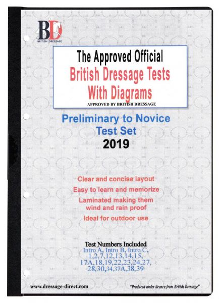 2019 PRELIMINARY TO NOVICE TEST SET Intro A: Official Laminated Dressage Tests with Diagrams